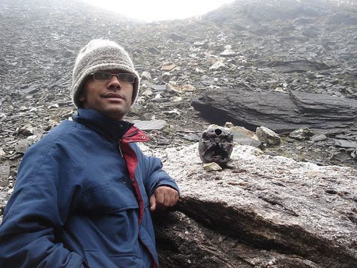 Sundeep posing with a cool Roopkund citizen