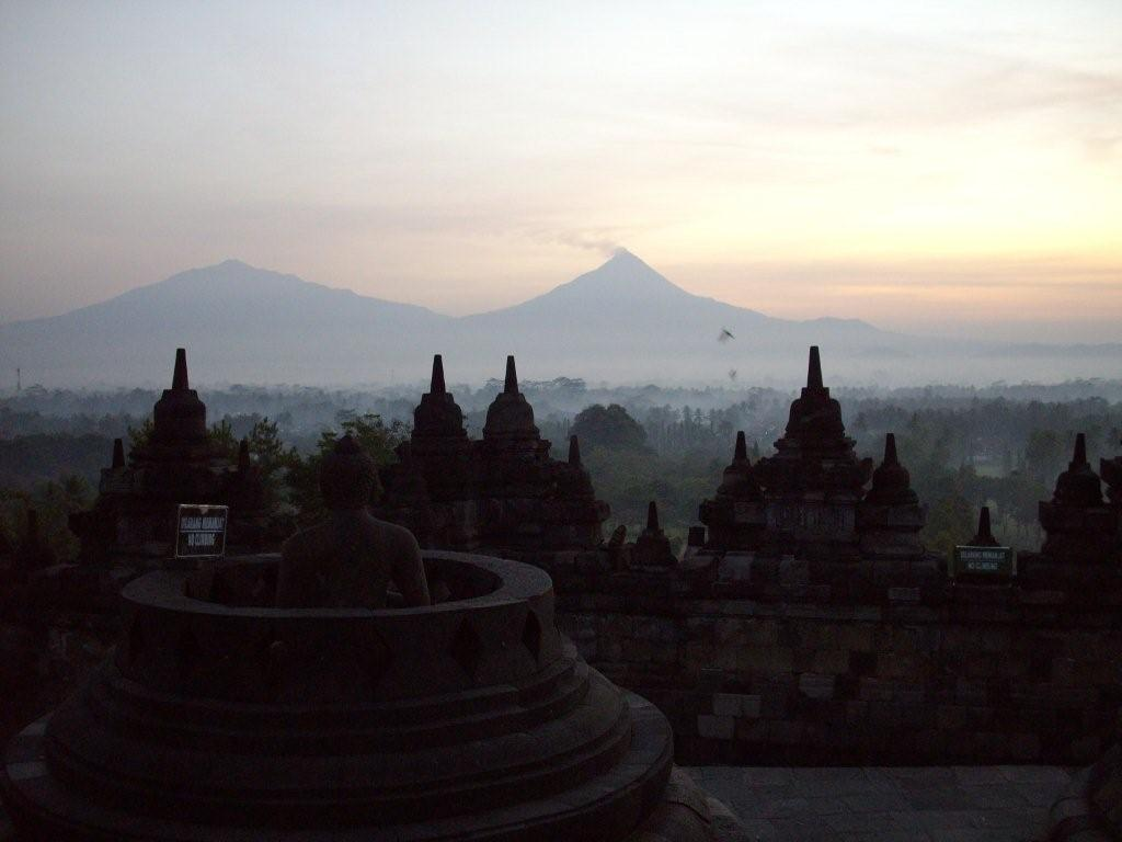 Smoking Mount Merapi As Seen From Borobudur