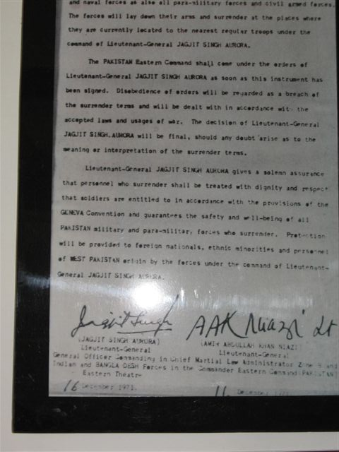 Surrender document of East Pakistan