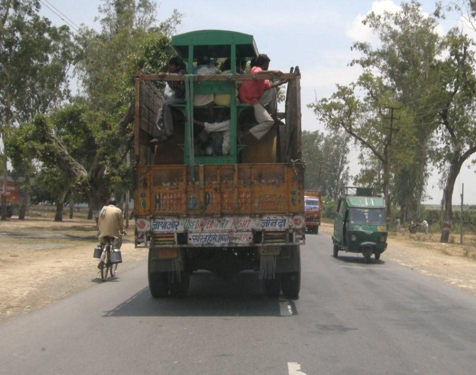 Road Roller on a truck in India