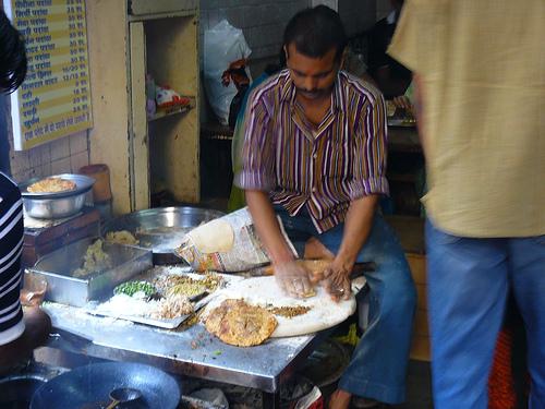 Parantha being prepared