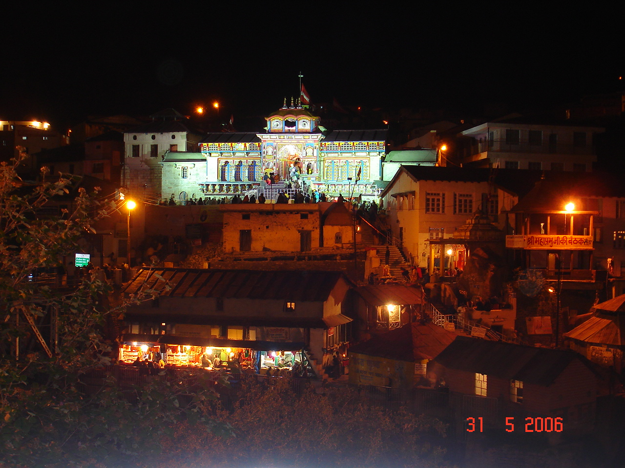 A long night shot of Badrinath temple