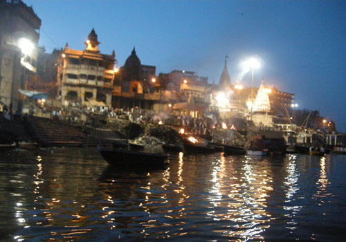 Banaras Ghat - Ganga and temples in evening