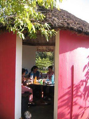 lunch inside hut