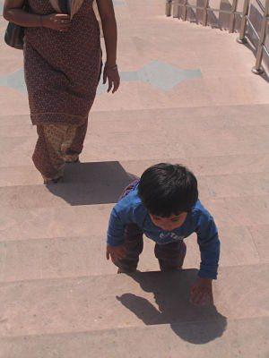 Kavvy having fun on the steps of Kainchi Dham