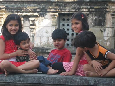 Kids resting in belur temple