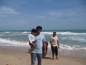 blue water at Dhanuskodi