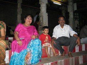 Relaxing at Madurai Temple near lotus tank