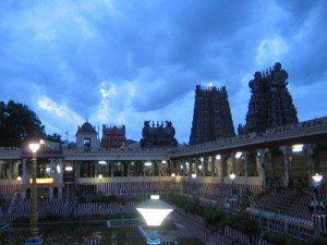 An evening at Madurai Temple near lotus tank