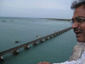 Father in law watching railway track at Panam Bridge