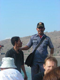 The Coast Guard at Komodo Island.