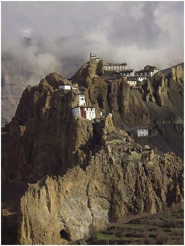 Dhankar's monastic buildings on crumbling  cliffs. Source: Nevil Zaveri@flickr