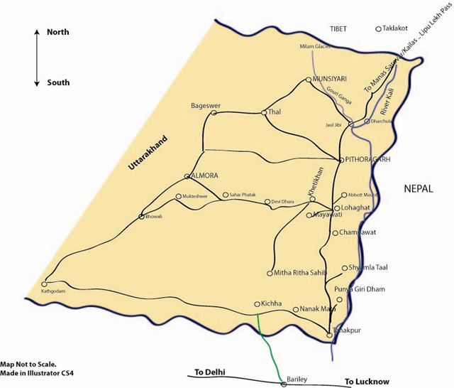 Map of eastern Kumaon.