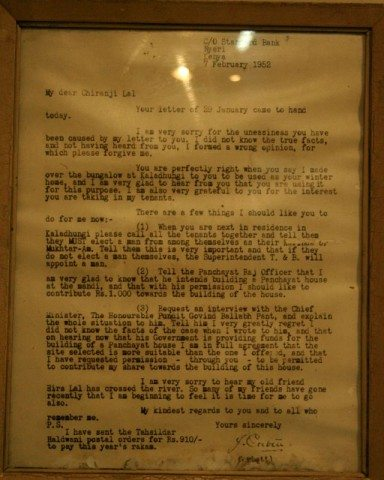 Corbett's letter to Chiranji Lal donating his house