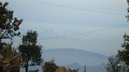 View of the snow-capped peaks