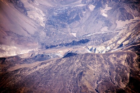 A view of the crater from the helicopter.