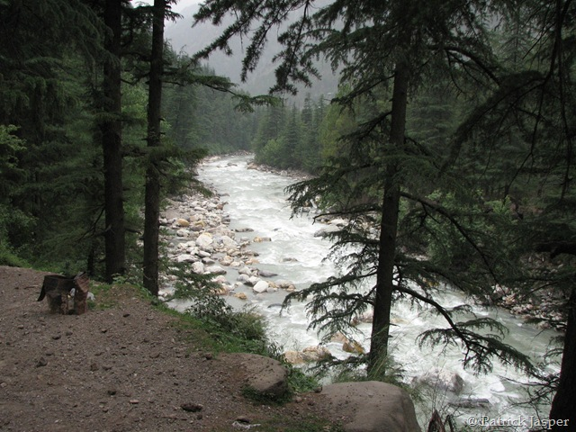 The Parvati River rushing along beside the Base Camp