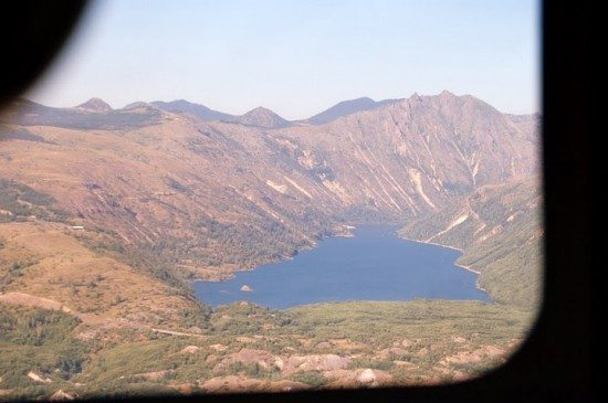 Some lake (possibly Coldwater Lake) as observed from the helicopter.
