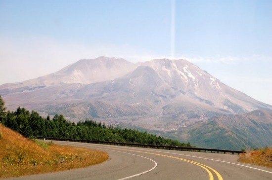 view of the helens while driving towards the Johnston Ridge Observatory