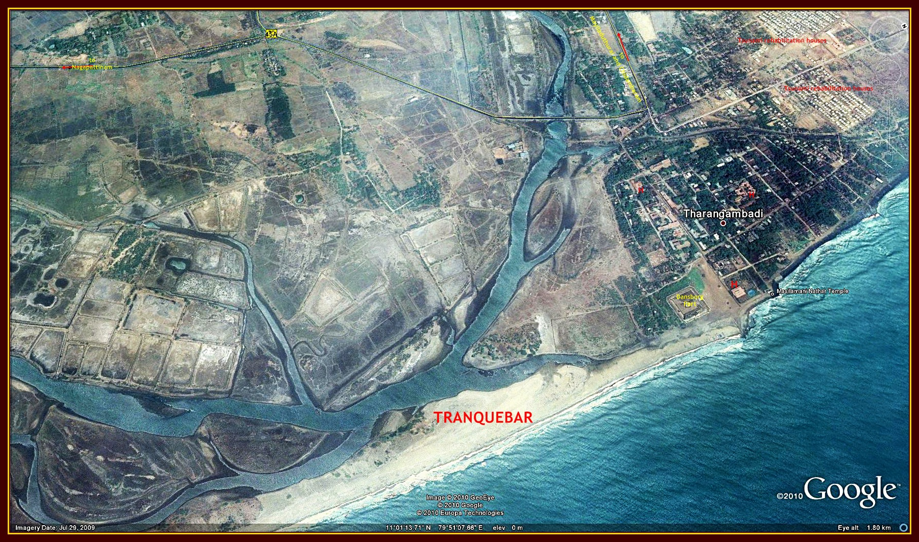 Google Earth Image of Tranquebar / Tharangambadi