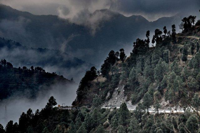 Winding Road Lost and Found in Cloud COver in CHamba