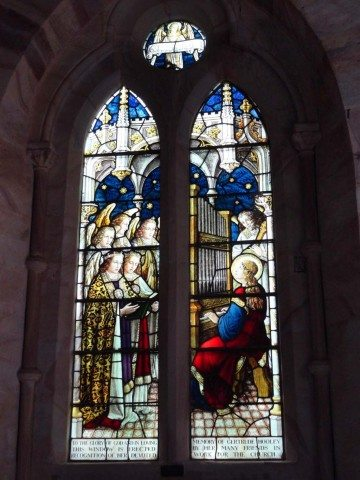 Stained etched glass creating magic inside the church