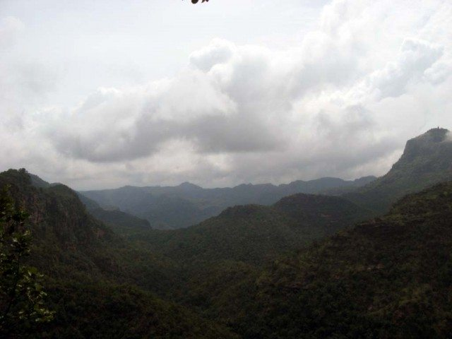 Rain clouds and the folds of blue mountains from Priyadarshini