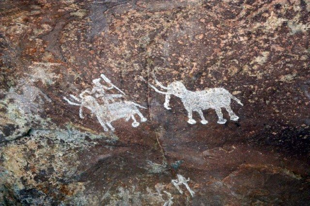 Caption – Ancient cave paintings of Bhimbhetka