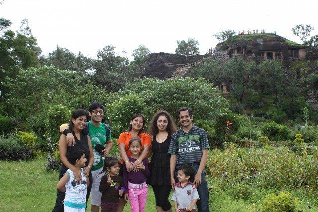 Pandava Caves at the backdrop