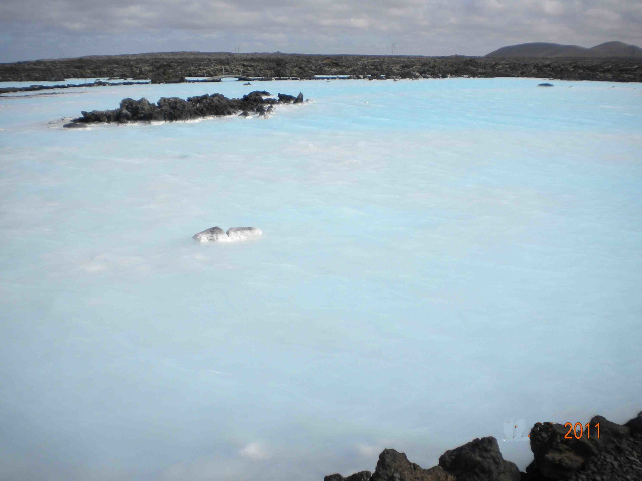 Blue Lagoon water full of minerals and chemicals healthy for skin