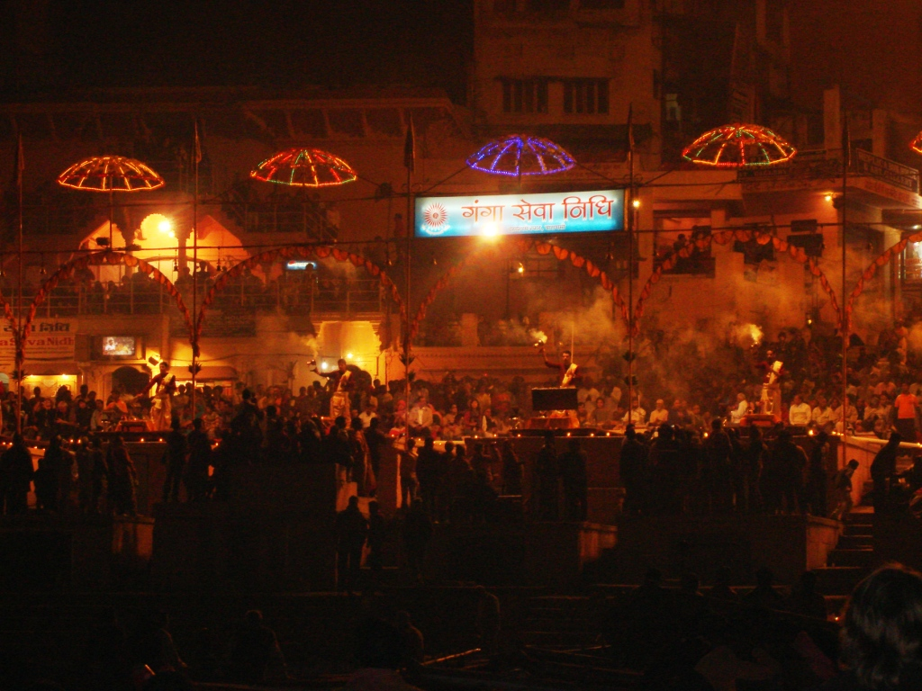 A view of the aarti at Varanasi as seen from the boat