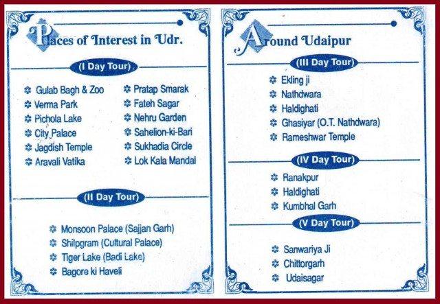 UDAIPUR TRIP PLAN CHART