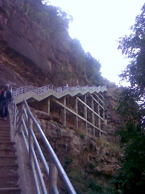 Stairs leading down in the Gorge towards Gaipernath Ji