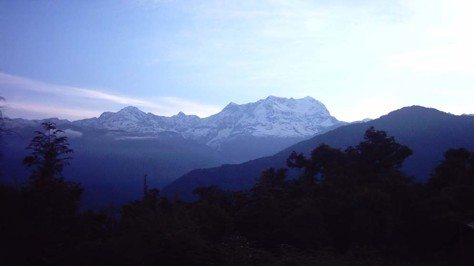 The snow-capped peaks of Chaukhamba & Kedarnath