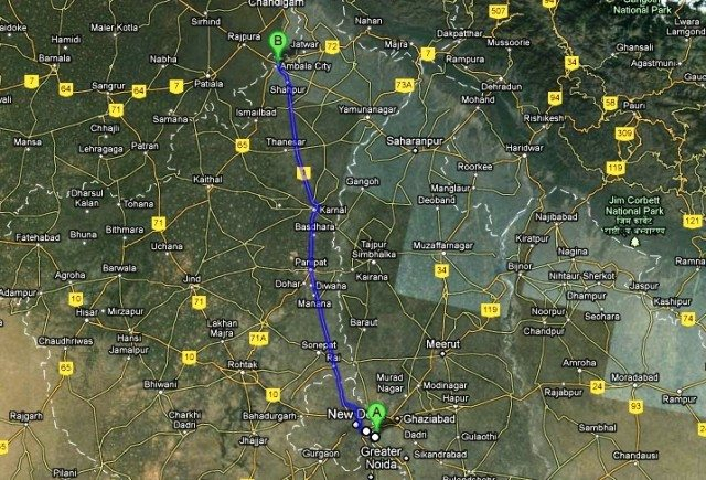 Noida to Ambala City Road Map Distance 227Km