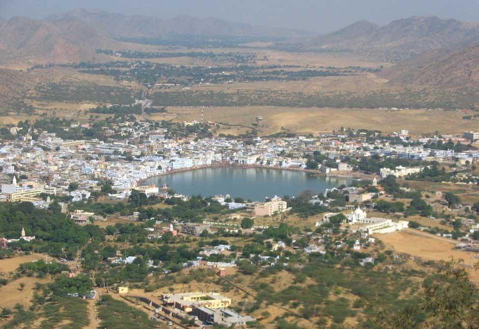Aerial View of Pushkar & Pushkar Lake - Courtesy: Google