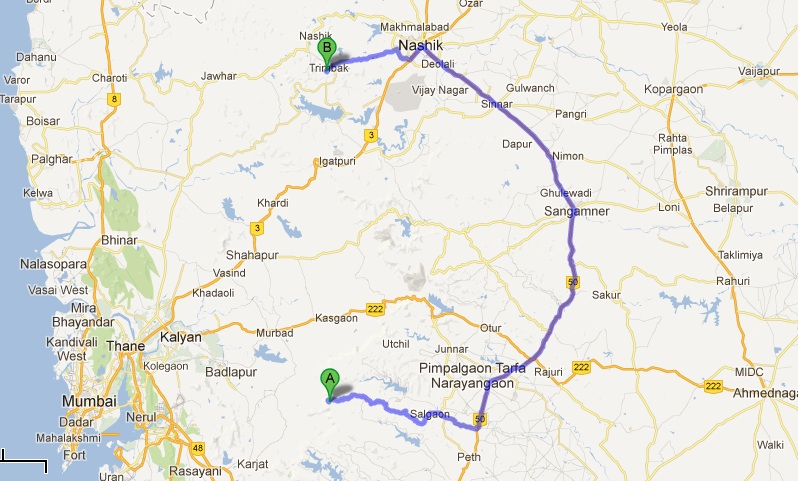 Map : Bhimashankar to Trimbakeshwar