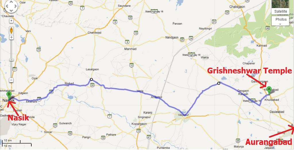 Nasik Grishneshwar Map