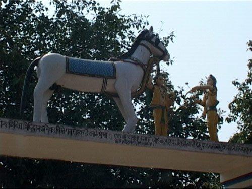 Sitamarhi , Sita Samahit Sthal : Luv Kush catching the horse of Ashwamedha Yagna