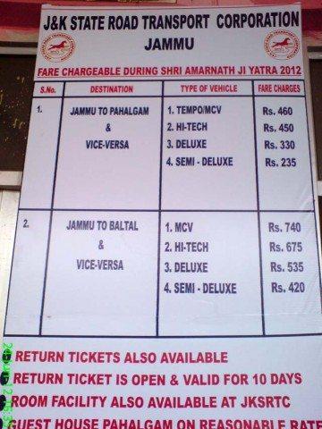 Bus Fare Chart
