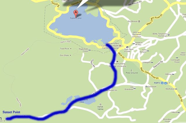 Route from Sunset Point to Nakki Lake