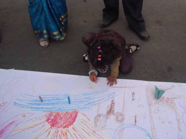 Community drawing at sukhadia circle