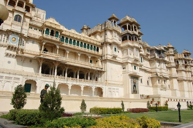 The majestic, imposing 4-storied structure of City Palace - an architectural marvel.