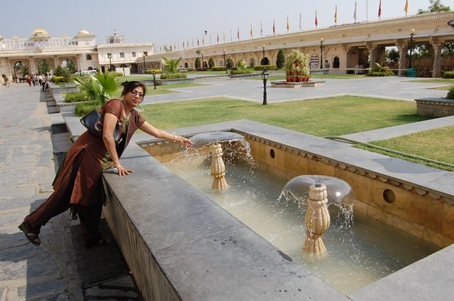 Rectangular, low height fountains in Manik Chowk, City Palace.