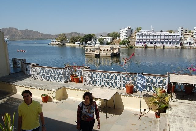 Lake Side Restaurant at Bagaur Ki Haveli. Across the lake, our hotel also is visible.