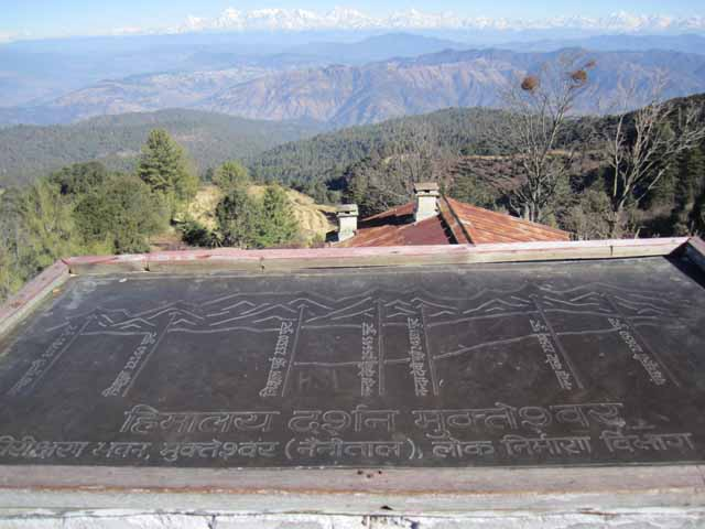 A board describing names of each Himalayan peak.