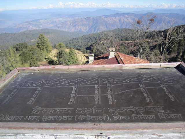 A board describing names of each Himalayan peak.