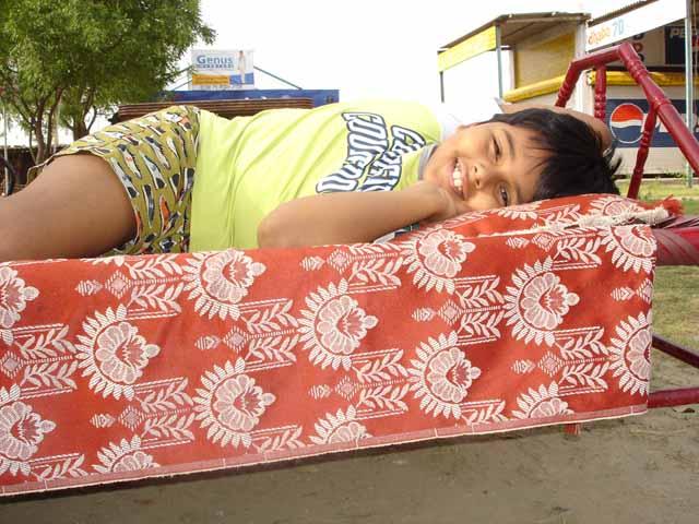 Stretching out at a Dhaba - Renukaji -2006