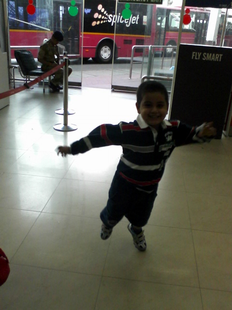 Enjoying at airport