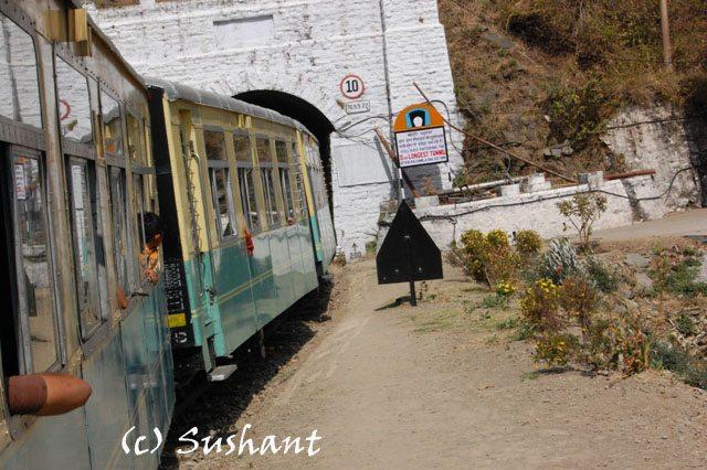 Kalka Shimla Train entering into a tunnel